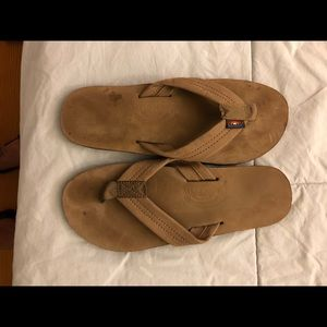 Mens tan rainbow leather sandals